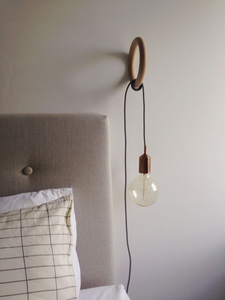 Hay gym hook with a copper edison bulb // bedroom