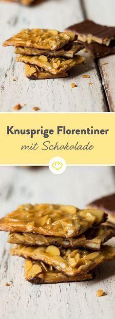 Knusprige Florentiner mit Schokolade