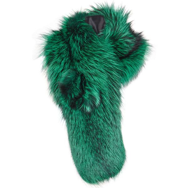LILLY e VIOLETTA Green fox fur scarf (2,705 BAM) ❤ liked on Polyvore featuring accessories, scarves, green shawl, green scarves, fox fur shawl and fox fur scarves