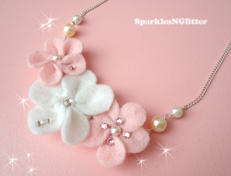 Swarovski Felt Floral Necklace