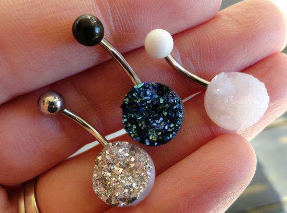 Iridescent Silver Druzy Belly Button Jewelry Ring by MidnightsMojo