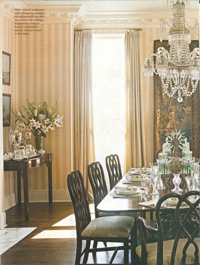 gold striped wallpaper formal dining room (AD)
