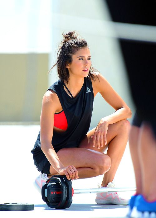 Nina Dobrev shooting a video for the new Reebok fitness clothing line in Venice // June 28, 2017.