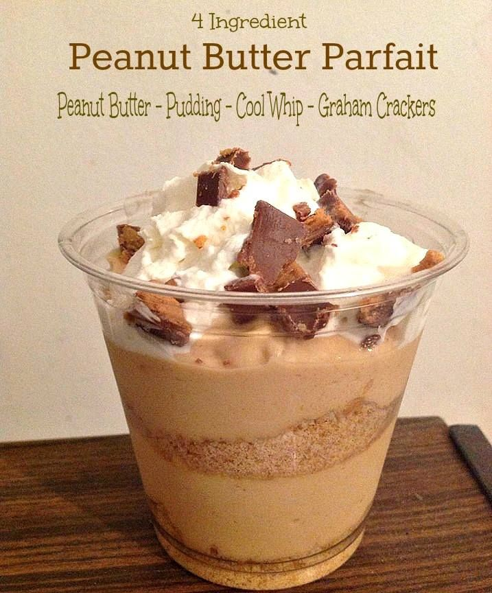 Peanut Butter Parfait Only 4 Ingredients! - Just 2 Sisters  I think I'll try this recipe with some Homemade Graham Crackers and Greek Yogurt PB Dip to add a healthier twist!  Of course you could also just use FF/SF pudding, all-natural pb and low-fat graham crackers if you don't want to go to as much trouble.