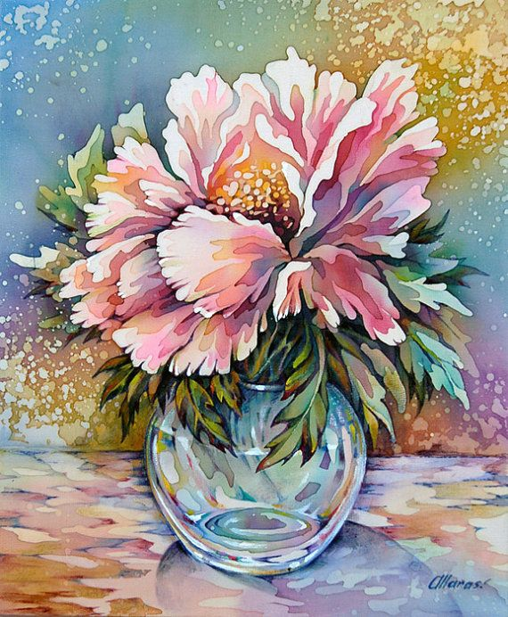 Silk Painting Picture Pink Peonies in a Glass Vase.