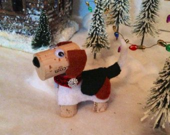 Beagle Dog Ornament, Wine Cork Craft, Wine Decor, Wine Gift, Beagle Wine