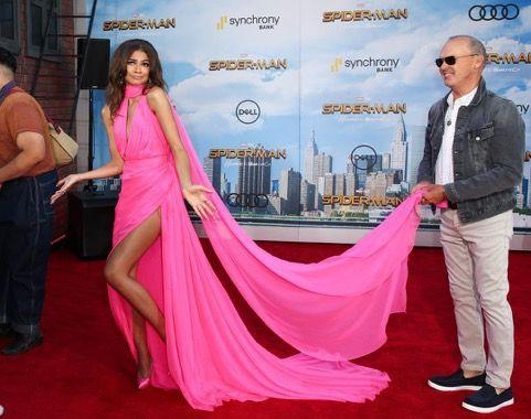 Singer/actress Zendaya Coleman and Actor Michael Keaton at the Spider-Man premiere June 28 2017 red carpet
