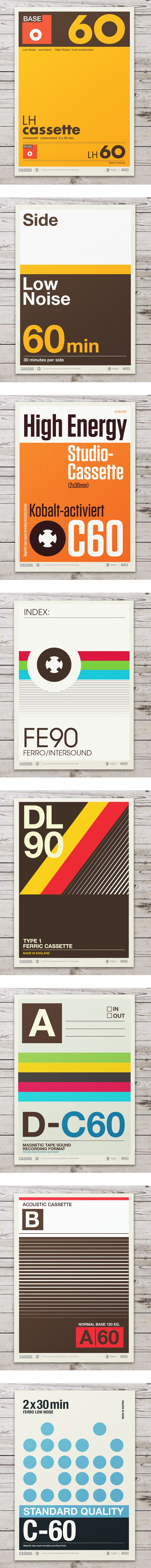 Retro Graphic Design Of Cassette Labels Turned Into Typographic Posters by Neil Stevens