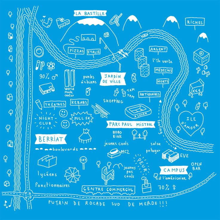 Plan de Grenoble /// Grenoble Safari /// city guide /// illustration : Mathieu Zimmer
