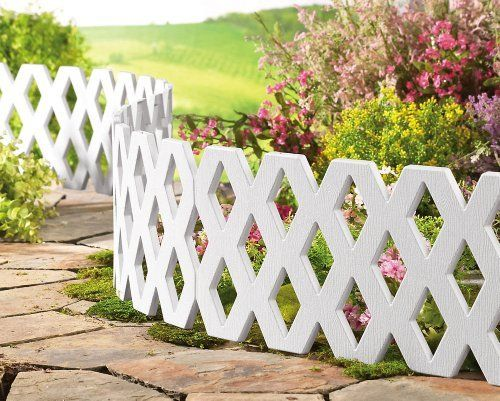 4pc White Lattice Snap Together Garden Border 4pc By