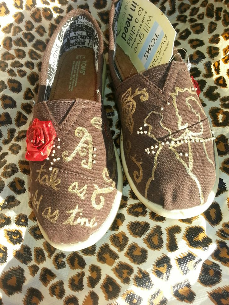 Beauty and the Beast Disney Toms by likemothstoaflame on Etsy, $95.00. I wish they were in a different color!