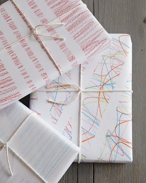 DIY Wrapping Paper with Tape & Crayons -