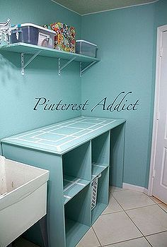 diy folding table and basket storage laundry room, cleaning tips, diy, laundry rooms, painted furniture, storage ideas