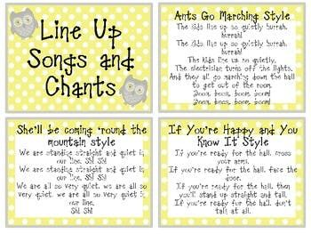 001 Line Up Songs and Chants Classroom Organization