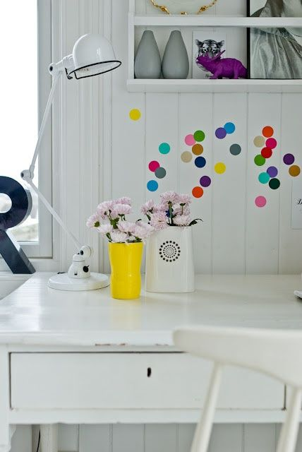 3 Ways to do, dots on the wallPolka Dots, Offices, Colors, Kids Room, Work Spaces, Dining Room Art, Workspaces, Wall Stickers, Desks Spaces