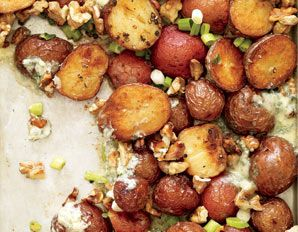 """Roasted Potatoes with Blue Cheese-Walnut """"Butter""""- just reading this recipe makes your mouth water!"""