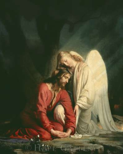 Often you see Angels comforting children, etc but not often doyou see them comforting Jesus in a picture--quite beautiful