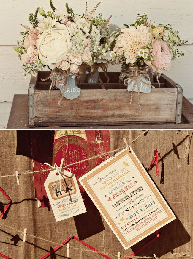 Love these flower arrangements...packed and bursting mix of roses, peonies, and little country daisies, all tucked in a rustic box.