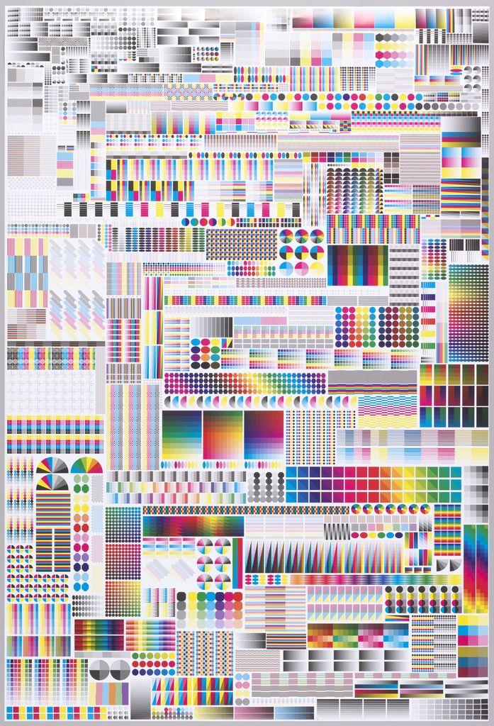 Fanette Mellier, exhibition poster Specimen, 2008. France. These symbols are printers' control marks. Via Cooper Hewitt