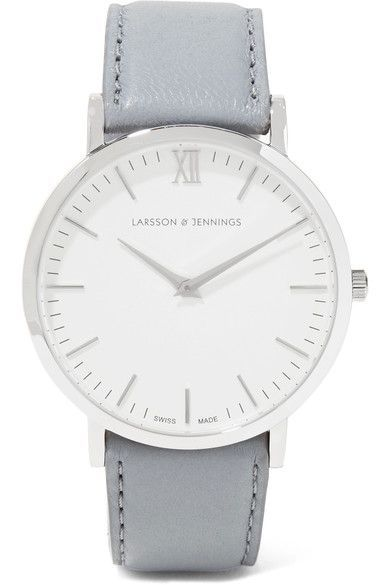 Stainless steel, light-gray leather (Sheep) Buckle fastening Water resistant up to 50 meters Comes in a presentation box Made in Switzerland