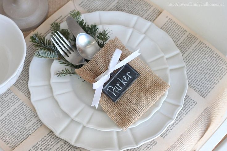 no sew burlap silverware holder {love the book pages as placemat too}