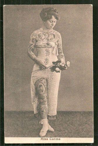 Miss Carma full body Tattoo Circus Germany ca 1910