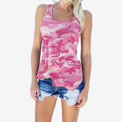 4929393e1db 2018 Summer Camouflage Tank Tops Women Sleeveless Backless Tees Female  Fashion Large Size Loose Beach Tops Plus Size 3XL 4XL 5XL