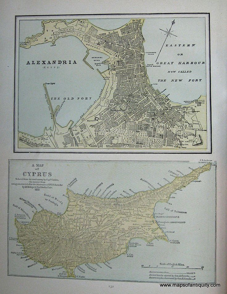 Alexandria Egypt and A Map of Cyprus