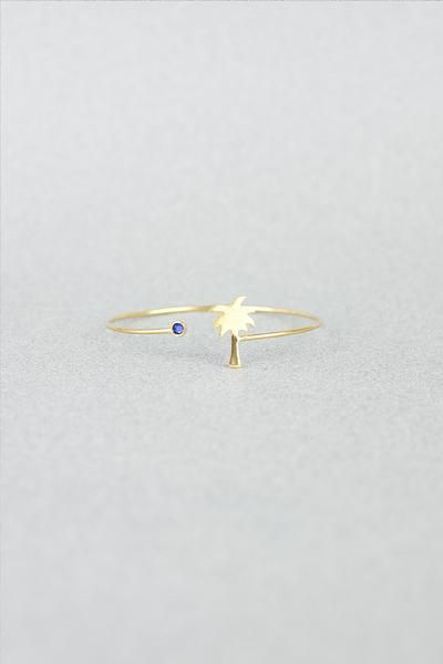 PALM TREE BANGLE GOLD-BLUE