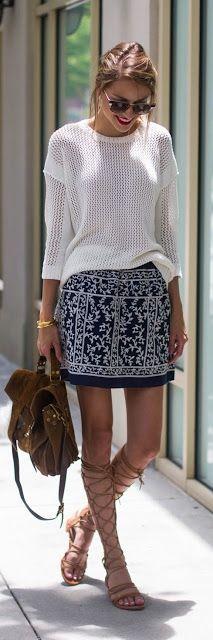 Women's fashion | White crochet sweater, printed skirt and roman sandals