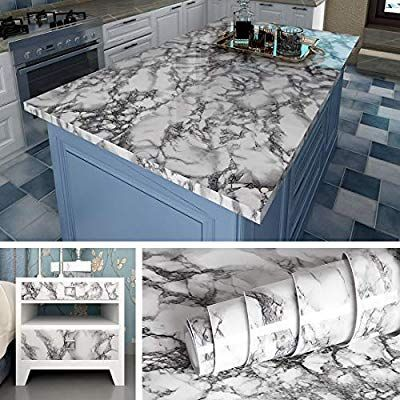 Livelynine Marble Wall Paper Kitchen Countertop Peel And Stick Wallpaper Marble Paper Self Adhesive Vin Furniture Renovation Kitchen Countertops Desk Furniture