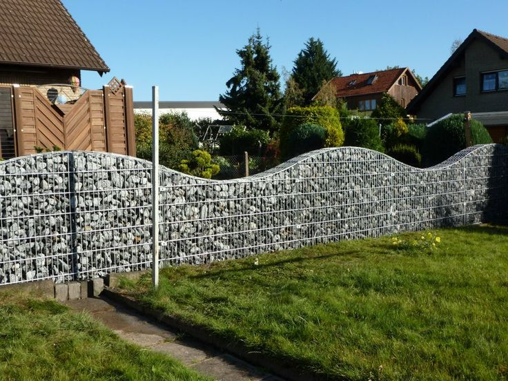 gabion fence - would love this with moss and trailing plants