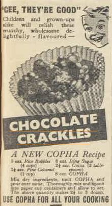 Australian food history timeline - Earliest Chocolate Crackles recipe