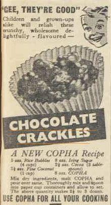 Australian food history timeline - Earliest Chocolate Crackles recipe