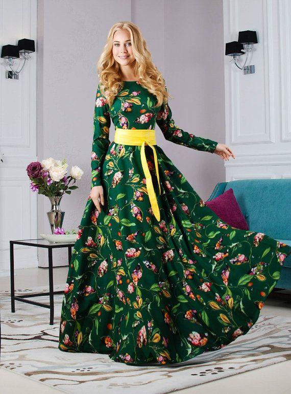 Green Floral Dress printed dress Maxi Dress by AugustVanDerWalz