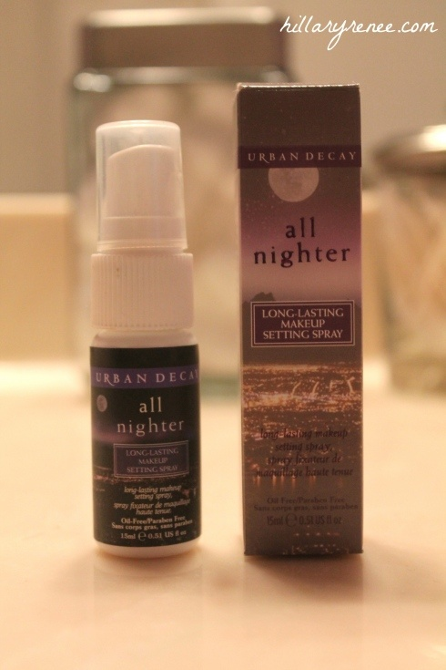 Urban Decay All Nighter Setting Spray. I use this before and after I apply my foundation so my makeup will last all night...hence the name ♥
