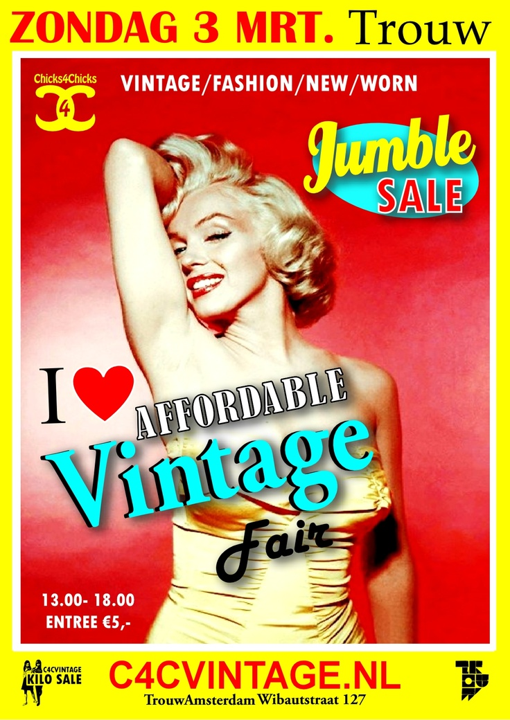 We're counting down to setting-up market places at the C4C Affordable Vintage Fair & Jumble Sale Edition!  Amsterdam, here we come!!  Sunday March 3nd 2013 - Bigger- Better- Cheaper - Yoehoe!  If you have not already signed up to be a trader? Email us..