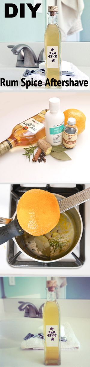 Good DIY gift for the groom or his party. Rum spice aftershave made from rum and orange peels.