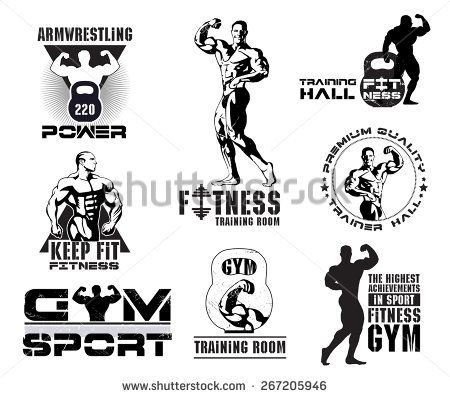 Bodybuilding logotype sign symbol. Fitness room logos emblems design element. Sports icons and elements. Gym bodybuilding icon icons. Bodybuilder , athlete icon. Sports equipment icons. - stock vector