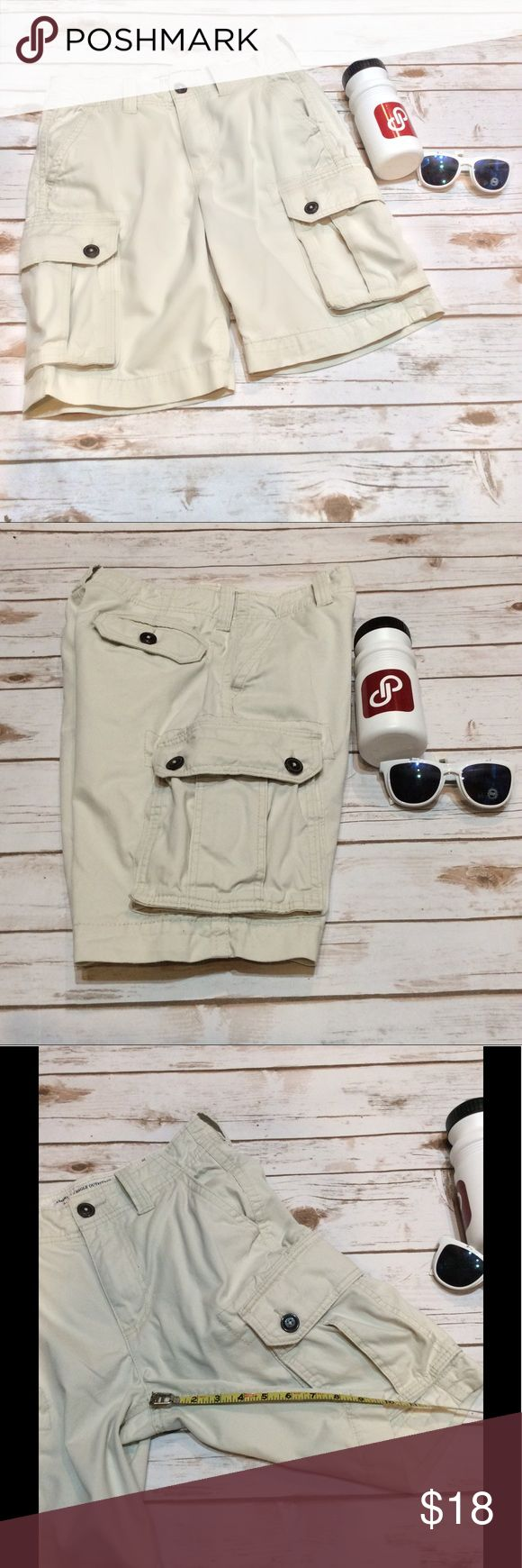 "AE Outfitters Boy's/Men's Cargo Shorts Size 28 American Eagle Outfitters Classic Cargo Khaki Shorts, Boys/Men's Size 28. Material: 100% Cotton. Machine Wash Cold. Approximate Measurements Laying Flat: Waist: 15"", Inseam: 10"", Rise: 11"". No Flaws. 🚫 NO TRADES OR LOW BALL OFFERS🚫 A5 American Eagle Outfitters Shorts Cargo"