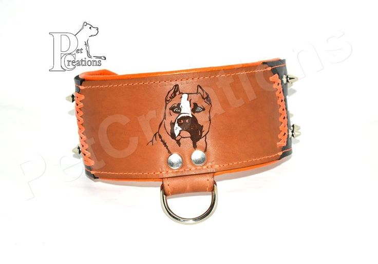 Handmade Leather Dog Collar with Portrait and Breed or other text, width 8cm - CC10277S by HandmadePetCreations on Etsy