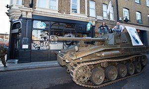 Martin Dickie and James Watt, Co-founders of BrewDog. Driving a tank through Camden in north London