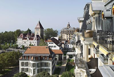 Lausanne vu depuis l'hôtel Beau-Rivage.