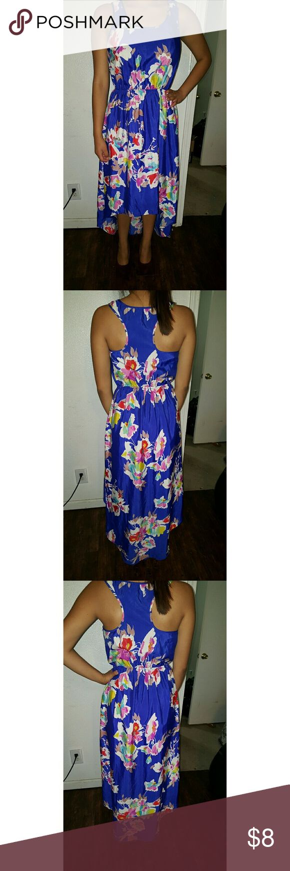 High low Flowery dress Blue high low beautiful dress in great conditions . Very thin also :) Xhilaration Dresses High Low