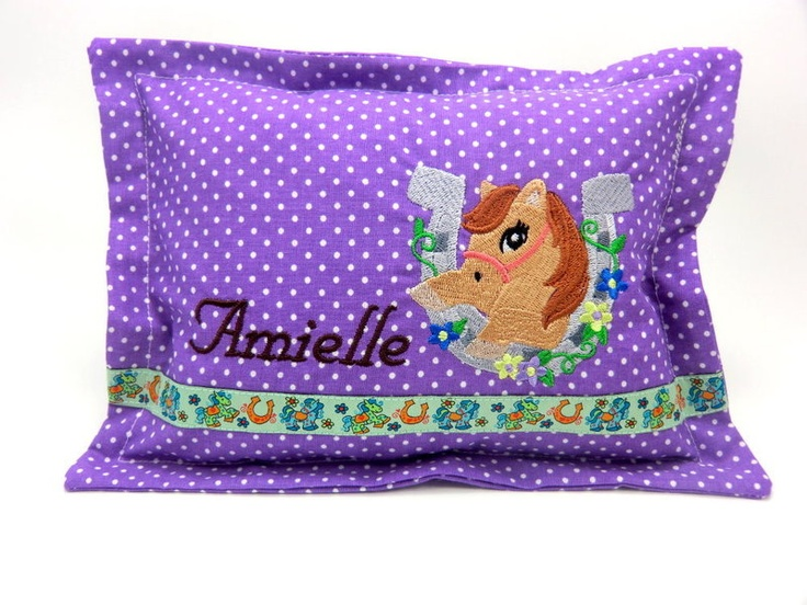 *Horse*    Mini Cuddly Pillow    with name embroidery    Cover removable and washable at 40°C