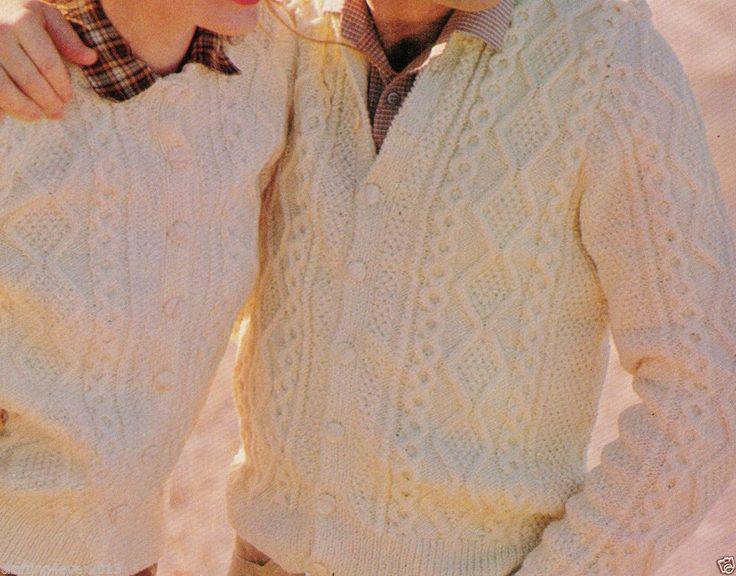 HIS & HERS MATCHING ARAN CABLE BUTTONED WARM JACKETS 1980S 8PLY KNITTING PATTERN