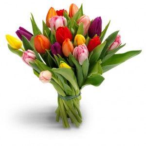 Een vrolijk kleurenspel! Dit tulpenboeket maakt de lente nog vrolijker.