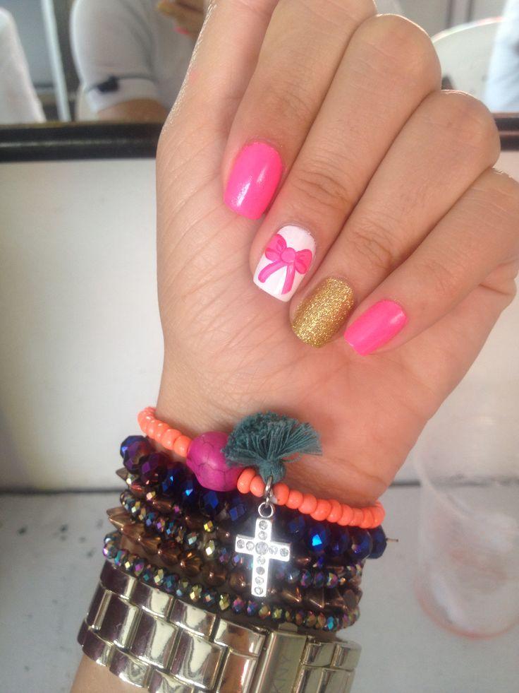 #nails#bow #pink