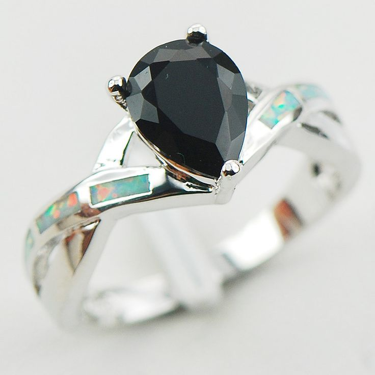 Black Onyx White Fire Opal 925 Sterling Silver Woman Ring Size 6 7 8 9 10 R1186 Fashion Wholesale Jewelry Free Shipping