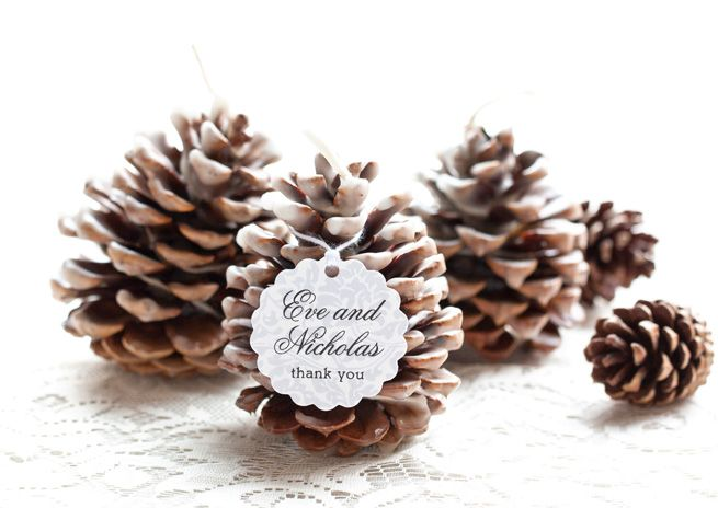 DIY Pinecone Fire Starters LINK- https://www.evermine.com/weddingblog/pinecone-fire-starter-favors/